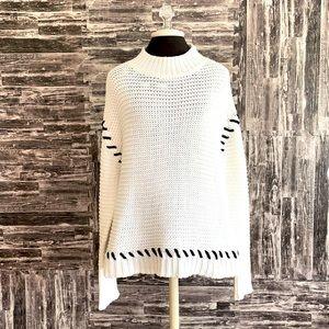 RDI Ivory Black Stitch knit oversized sweater LRG
